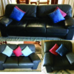 Charcoal leather lounge suite
