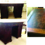 Edwardian desk with leather inlay