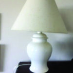Large white table lamp