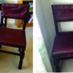 Teak dining room chairs with red upholstery
